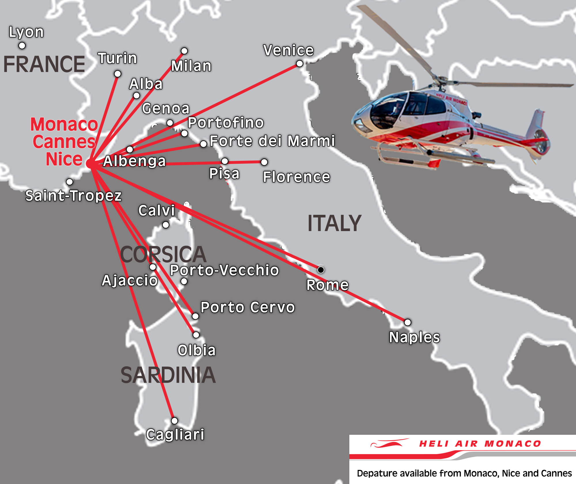 Destination Italie :  Map - Heli Italie - Heli Air Monaco